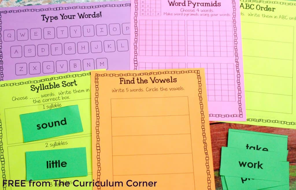FREE! Large Assortment of Fry Word Activity Boards to be used with ANY word list | The Curriculum Corner