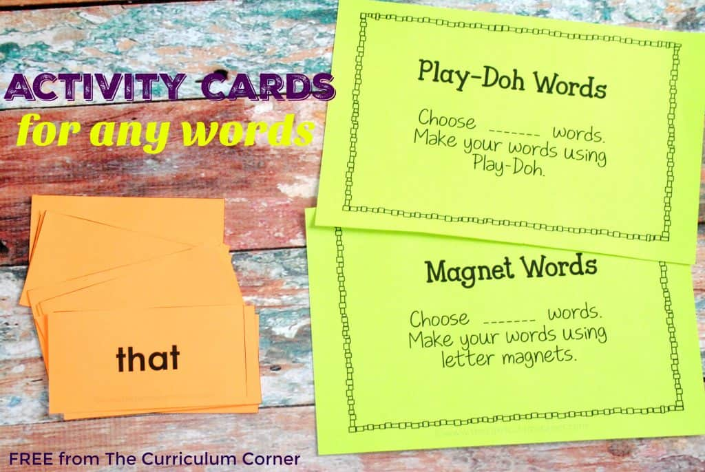 FREE! Activity Cards to be used with ANY word list | The Curriculum Corner (Plus Fry Word Cards & Activity Boards)