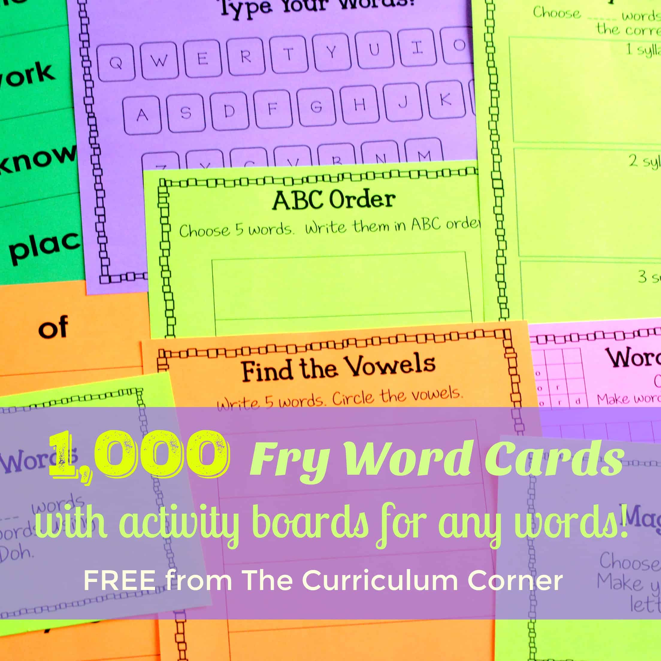 Worksheet Fry Word Cards fry word cards activity boards the curriculum corner 123