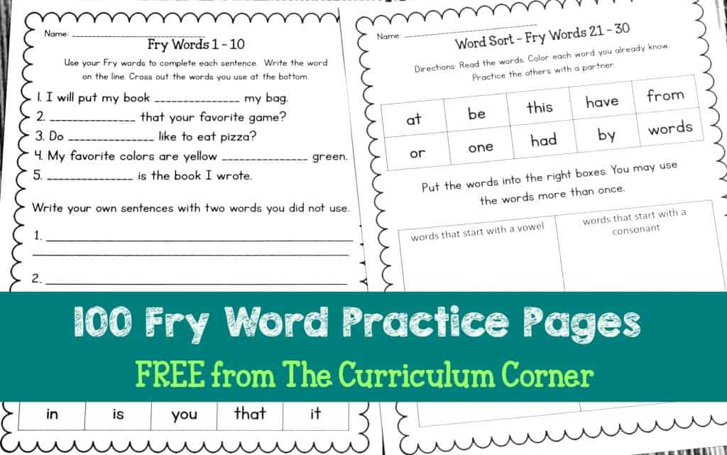 These Fry words practice pages include two different printable page styles to give your students practice with their Fry Words.