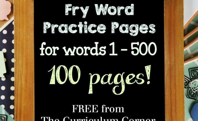 100 FREE Fry Word Practice Pages from The Curriculum Corner