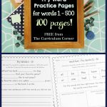 FREEBIE!!! 100 FREE Fry Word Practice Pages from The Curriculum Corner