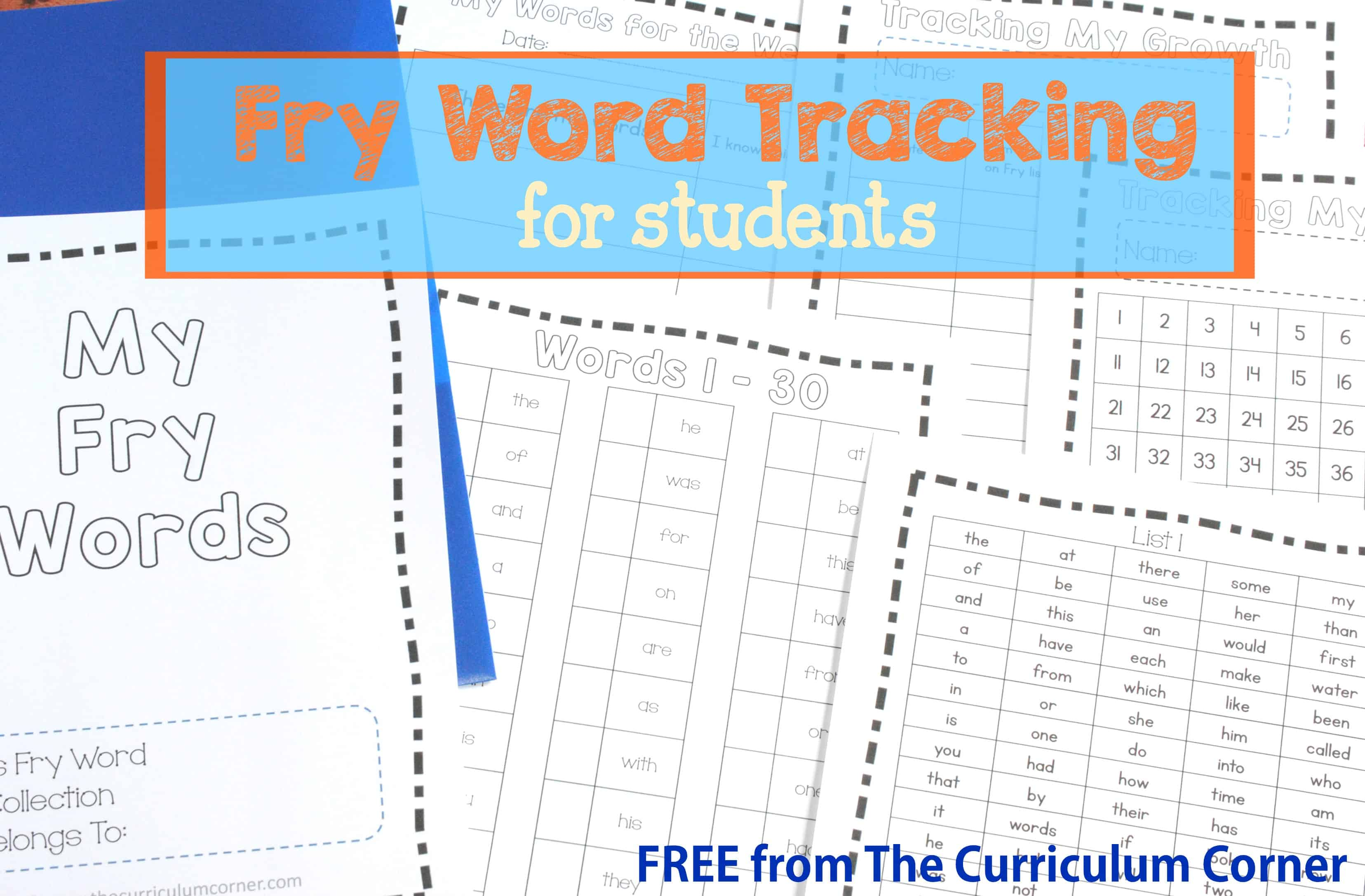 Fry Word Tracking for Students - The Curriculum Corner 123