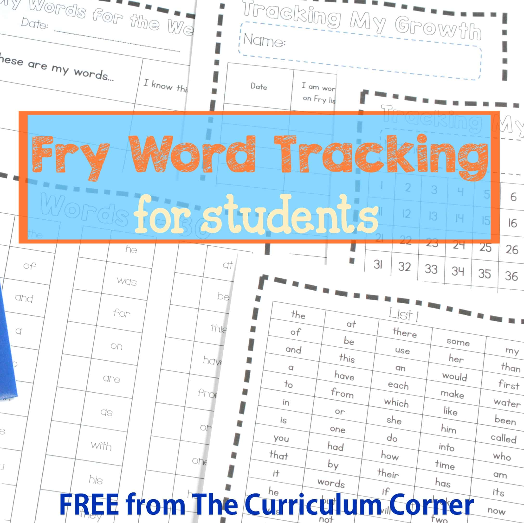 Fry Word Tracking for Students