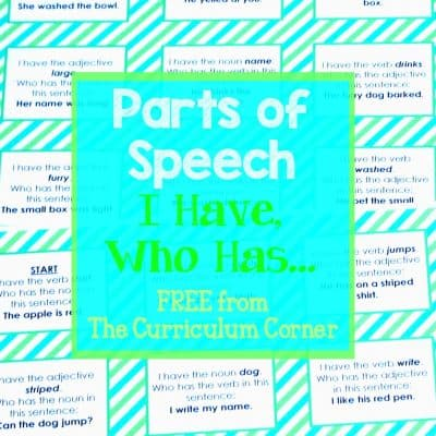 FREEBIE! Parts of Speech I Have, Who Has Game FREE from The Curriculum Corner