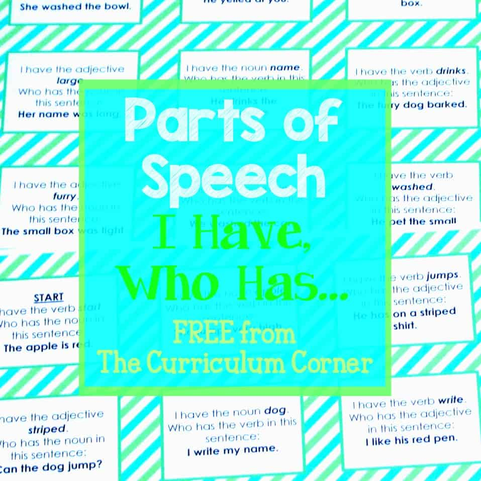 Parts of Speech Game (I have, Who has)