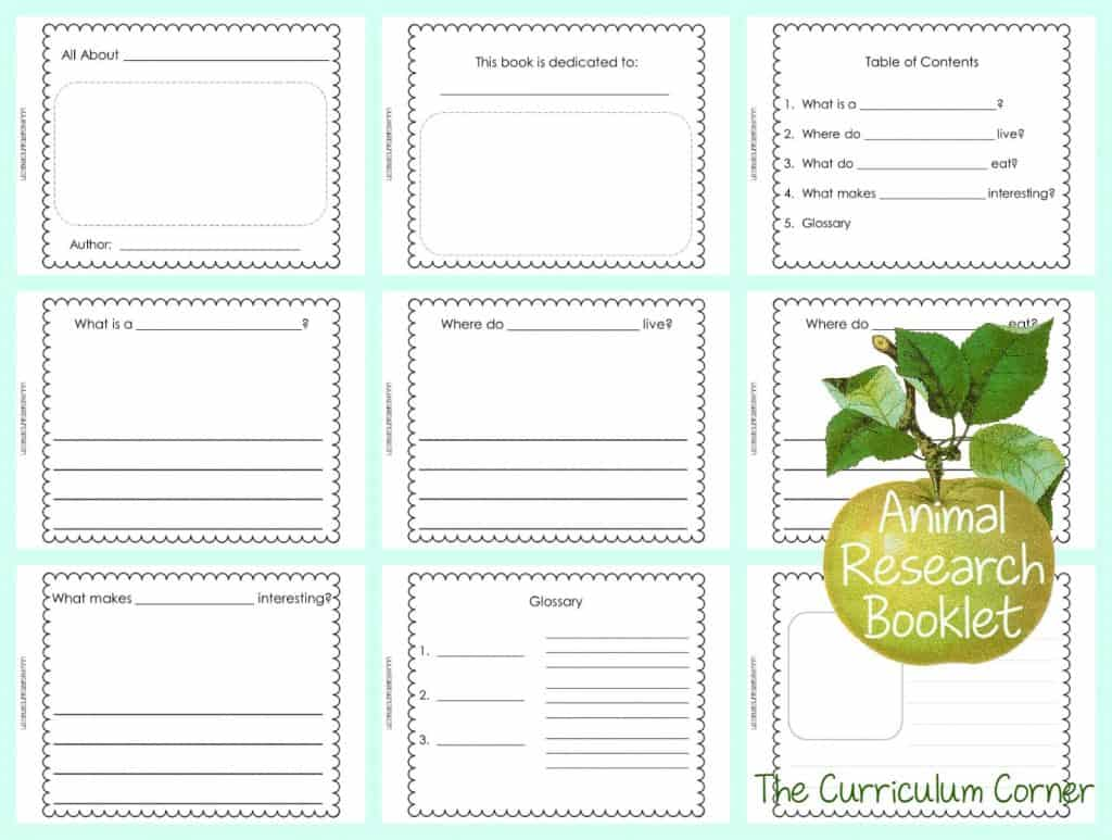FREE Animal Research Writing Unit of Study from The Curriculum Corner   Blank Books for Writing