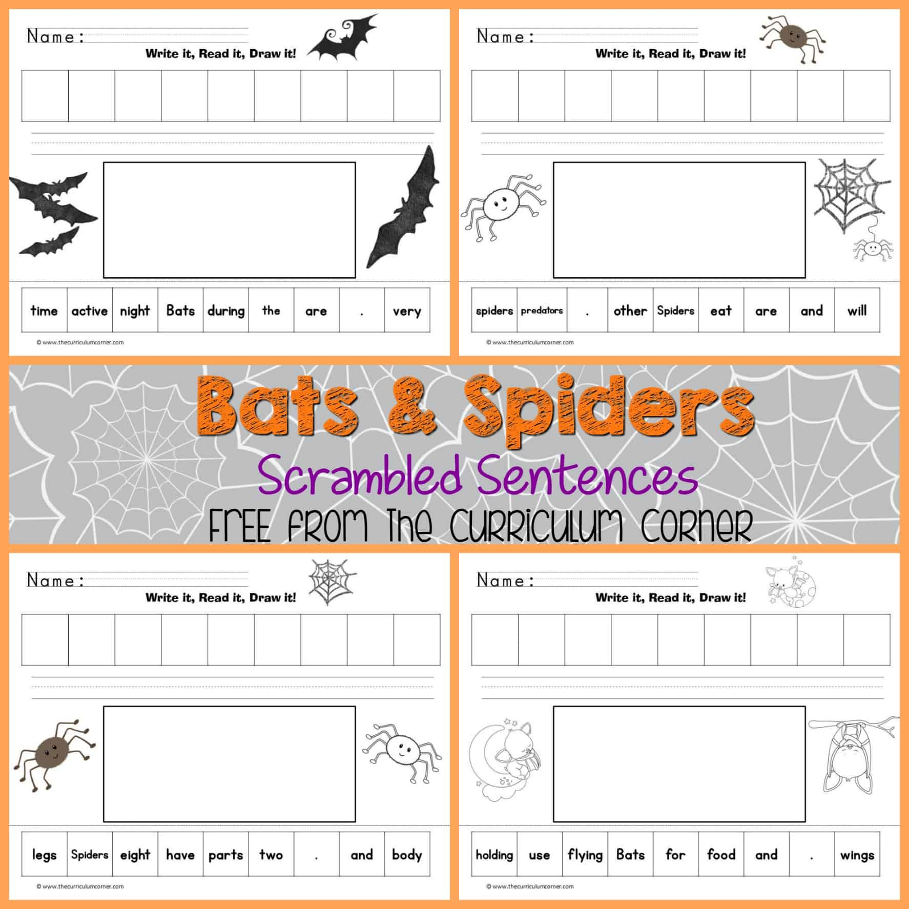Bats spiders read write draw it the curriculum corner 123 pooptronica