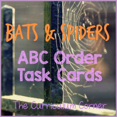 FREE! Bats & Spiders ABC Order Cards & Recording Sheets | LIteracy Center | The Curriculum Corner