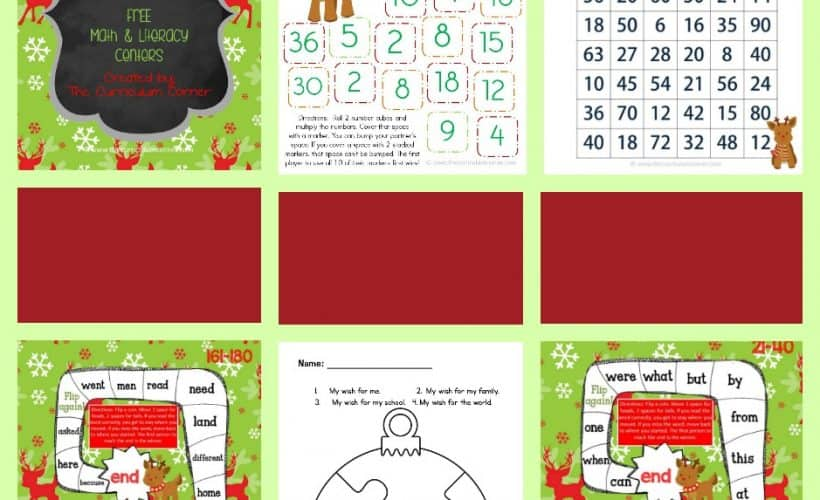 FREE! Reindeer Games Centers for Math Facts & Fry Words from The Curriculum Corner | Fry Word Practice | Bump!