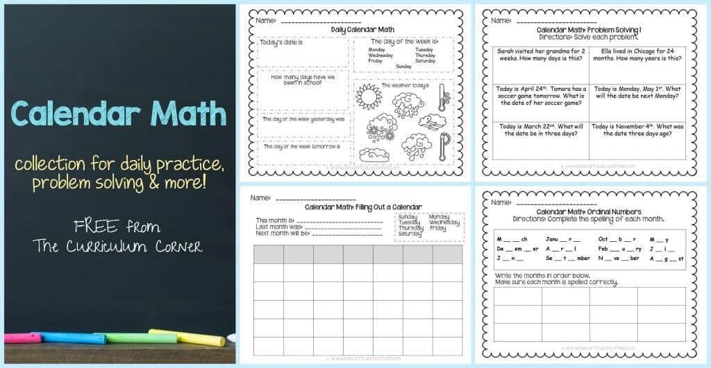 FREE Calendar Math Activities from The Curriculum Corner   calendar math journal   problem solving   anchor charts & more FREEBIE