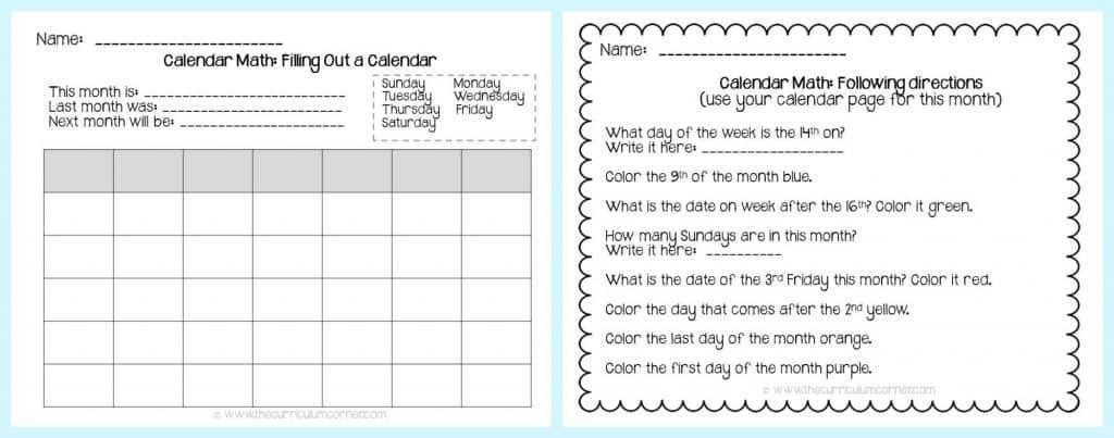 FREE Calendar Math Activities from The Curriculum Corner   calendar math journal   problem solving   anchor charts & more   freebie collection