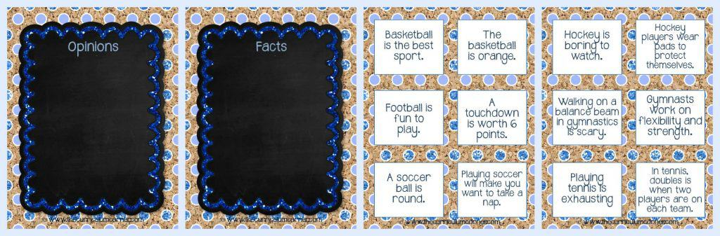 FREEBIE Collection! Fact & Opinion Practice Activities from The Curriculum Corner