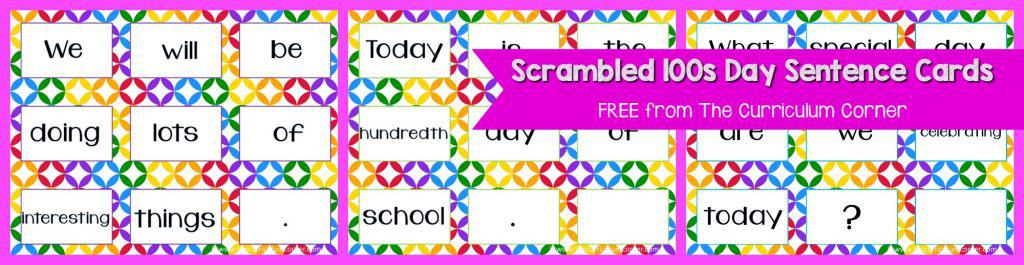 FREE 100th Day of School, Hundreds Day Collection of Resources   The Curriculum Corner   Stations   Activities   Task Cards   Scrambled Sentences