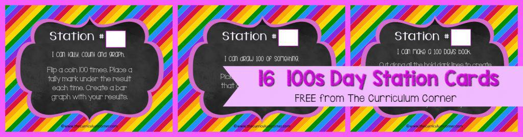 FREE 100th Day of School, Hundreds Day Collection of Resources   The Curriculum Corner   Stations   Activities   Task Cards   16 Station Cards