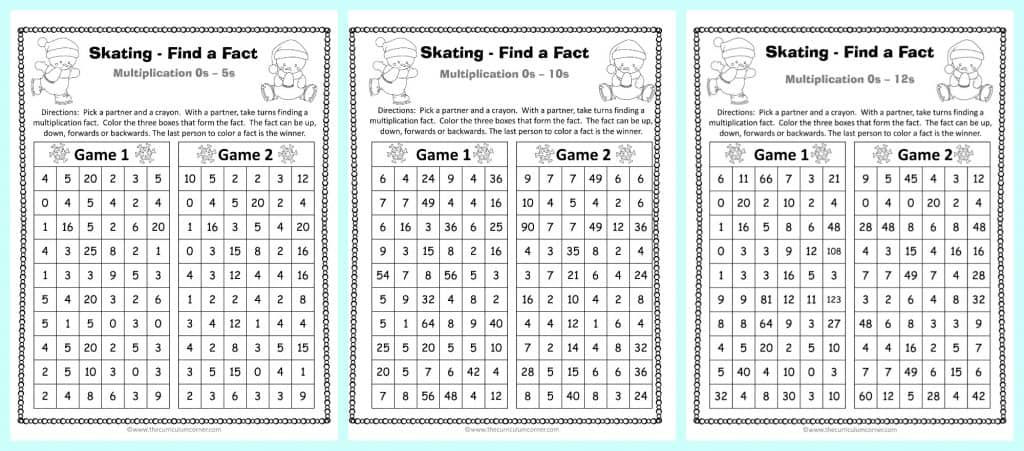 winter find a fact multiplication games the curriculum corner 123
