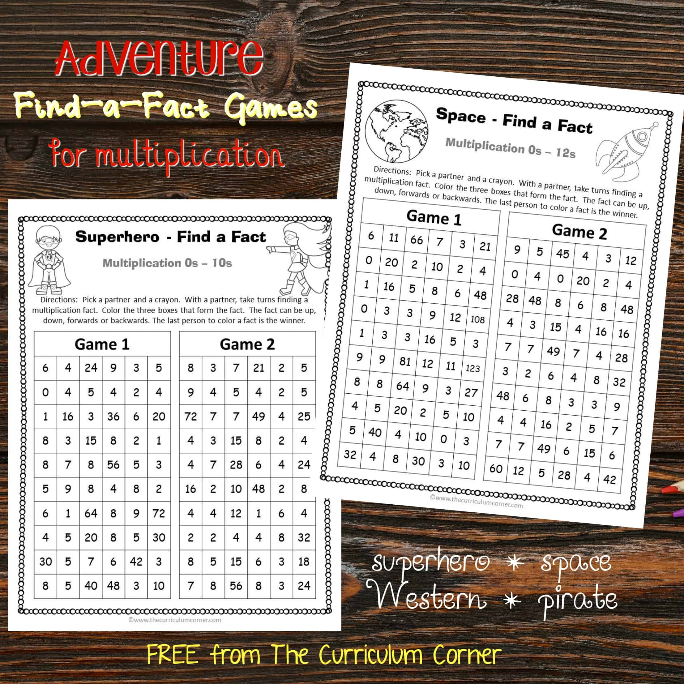 Adventure Find a Fact Multiplication Games