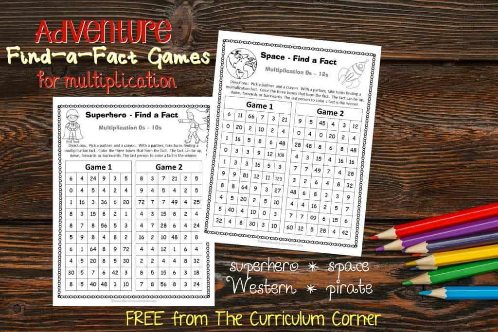 FREE Adventure Multiplication Games from The Curriculum Corner