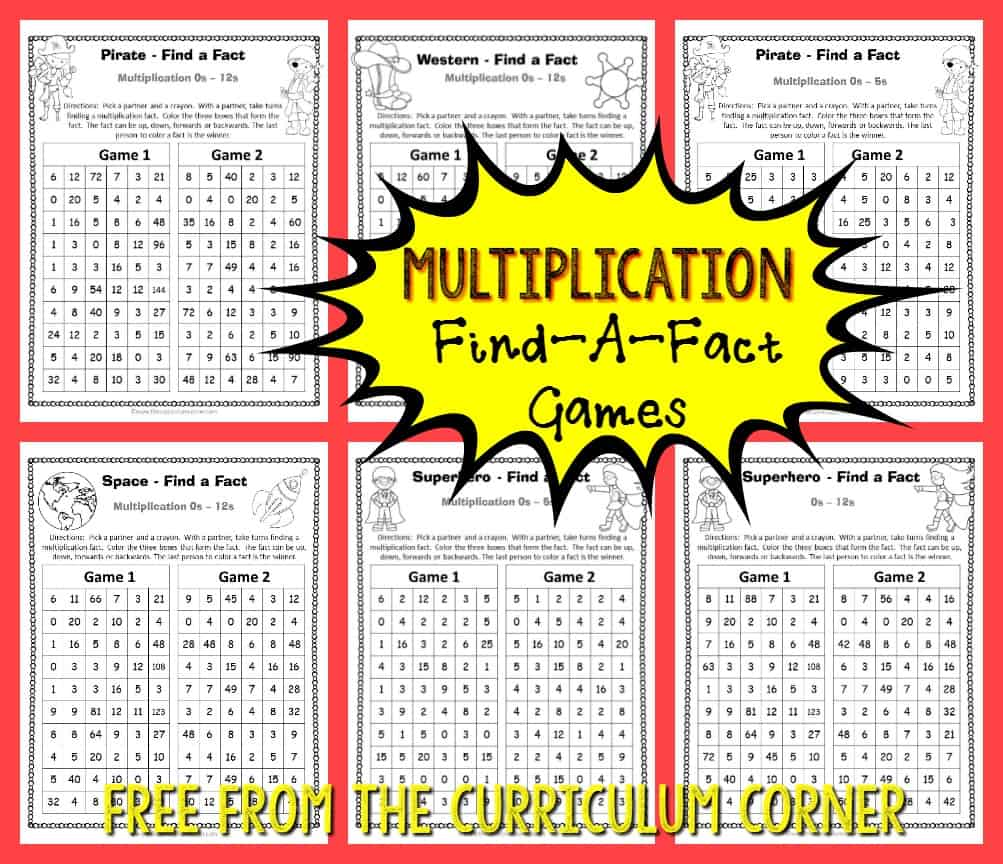 FREE 12 games Adventure Find a Fact Multiplication Games from The Curriculum Corner