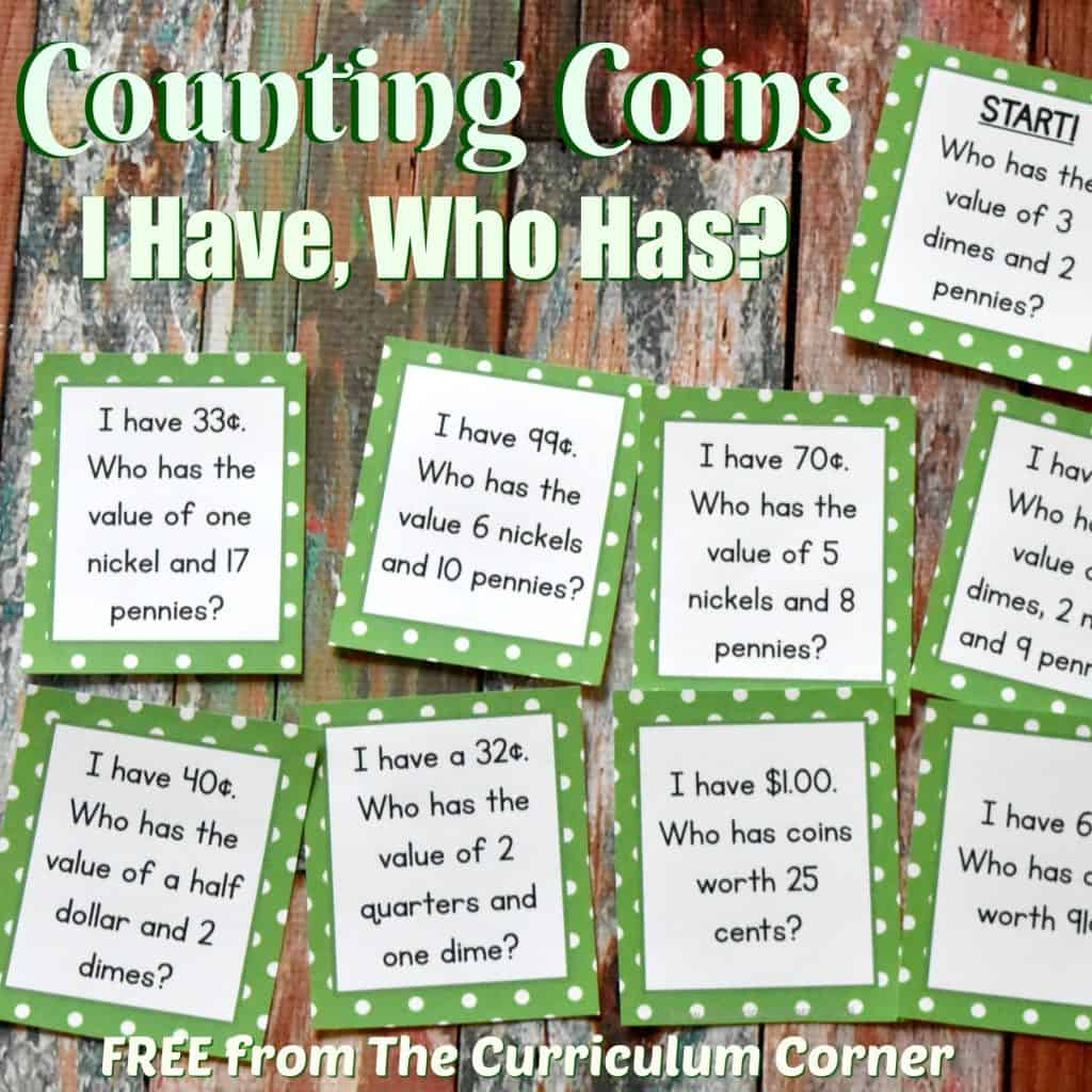 FREEBIE Counting Coins I Have Who Has Math Game from The Curriculum Corner | Money