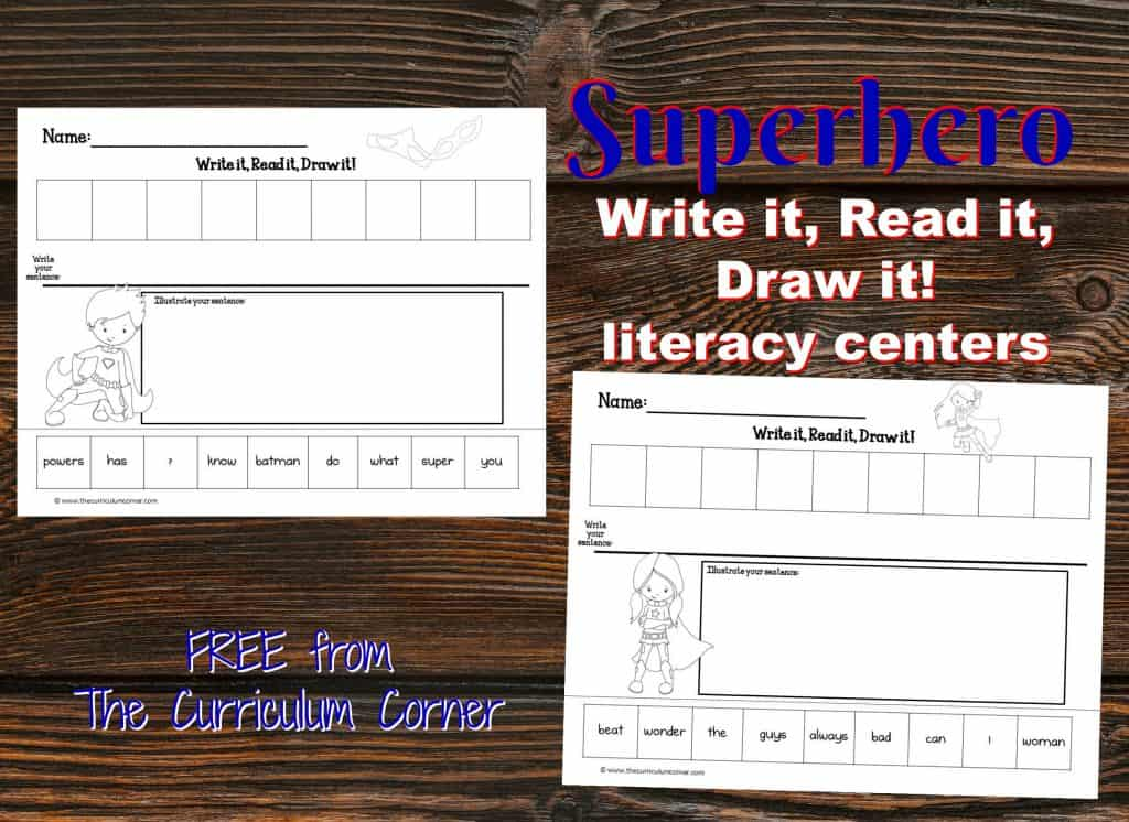 FREE Superhero Scrambled Sentences Literacy Center   Write it, Read it, Draw it scrambled sentences from The Curriculum Corner