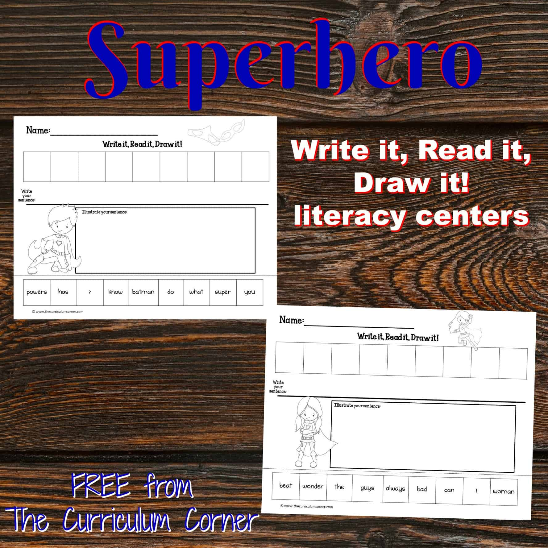 Superhero Read, Write & Draw It!