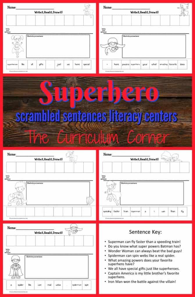 FREE Superhero Literacy Center   Write it, Read it, Draw it scrambled sentences from The Curriculum Corner   FREEBIE