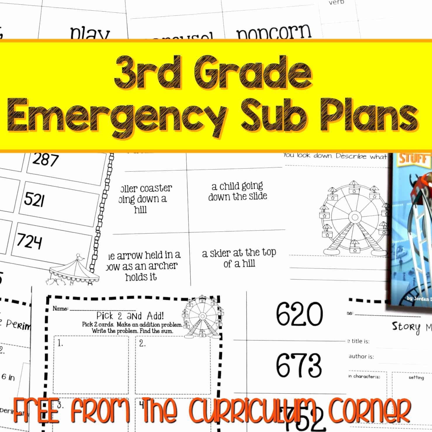 3rd Grade Sub Plans – Set 2