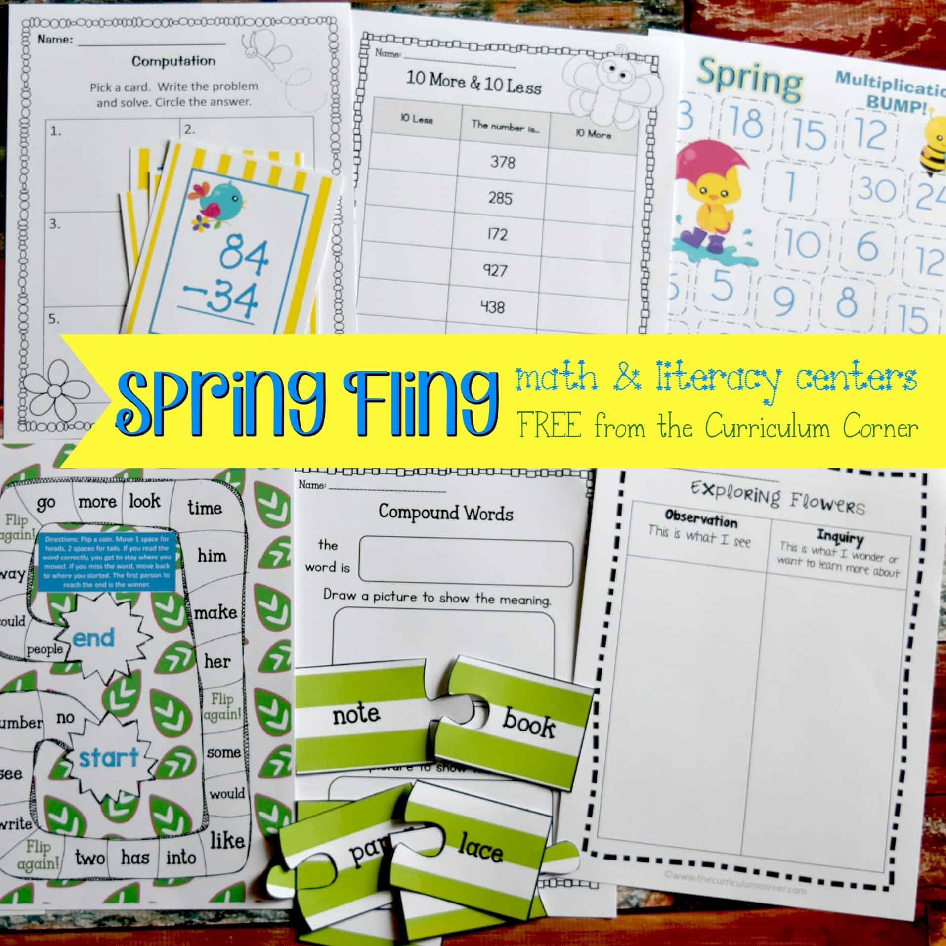 Spring Fling Math & Literacy Centers