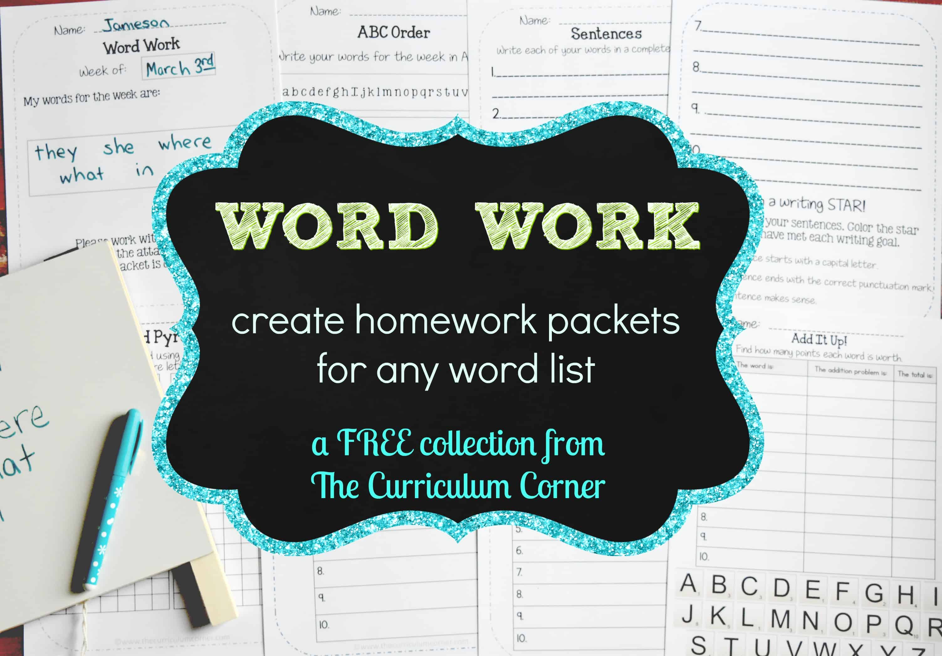 Word Work Homework for Any Words
