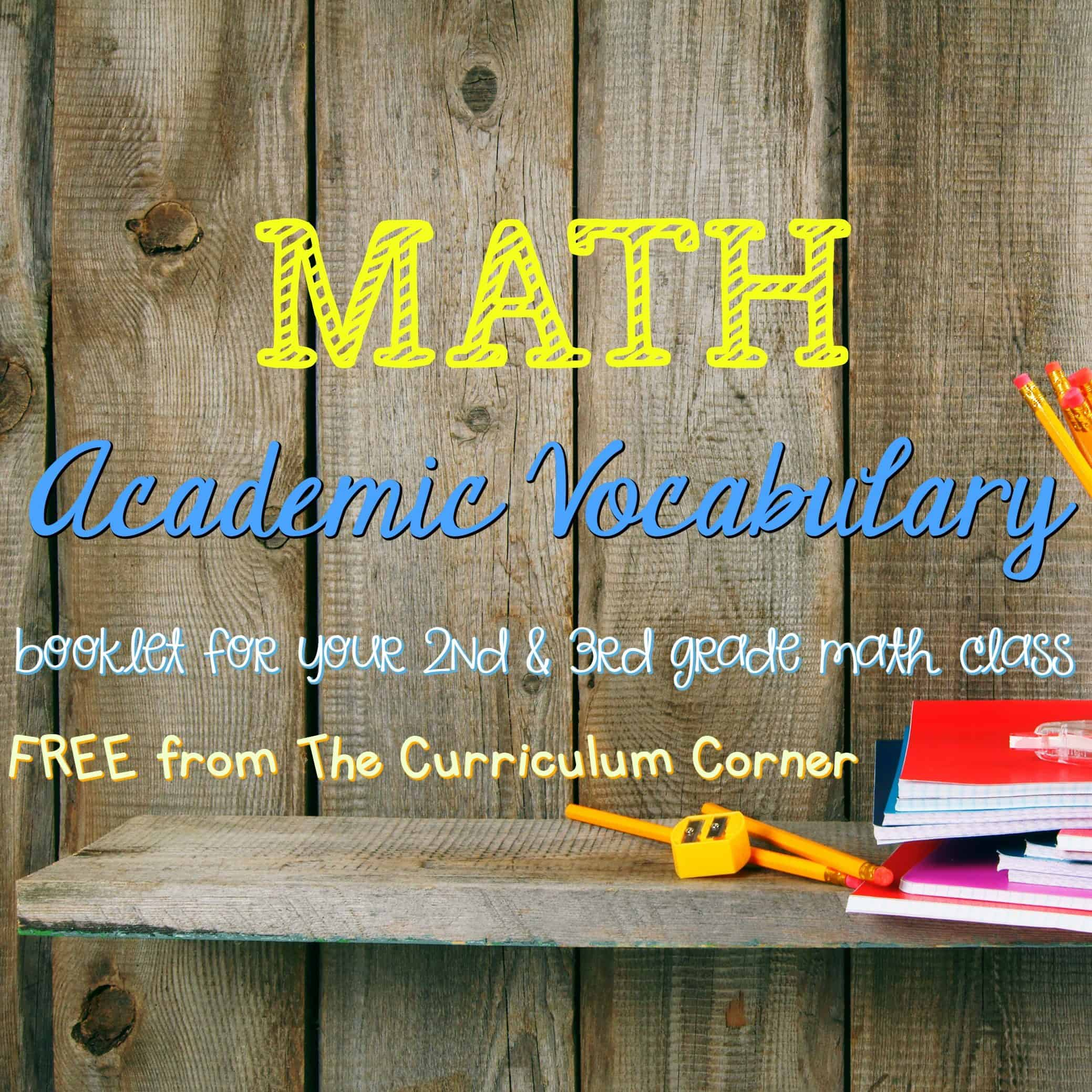 Academic Math Vocabulary Booklet