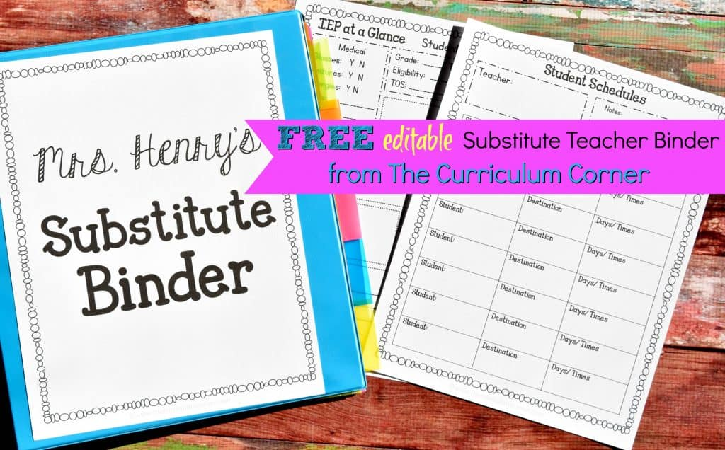 editable emergency sub binder with our free emergency sub plans to help yourself prepare for your next unexpected absence.
