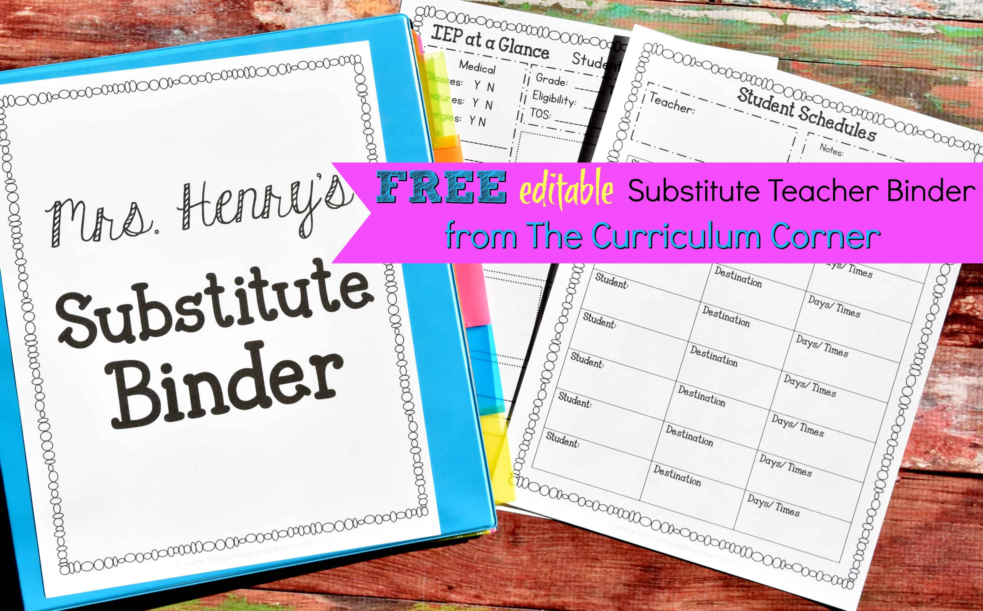Editable Substitute Planning Binder