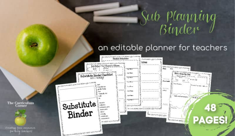 editable substitute planning binder