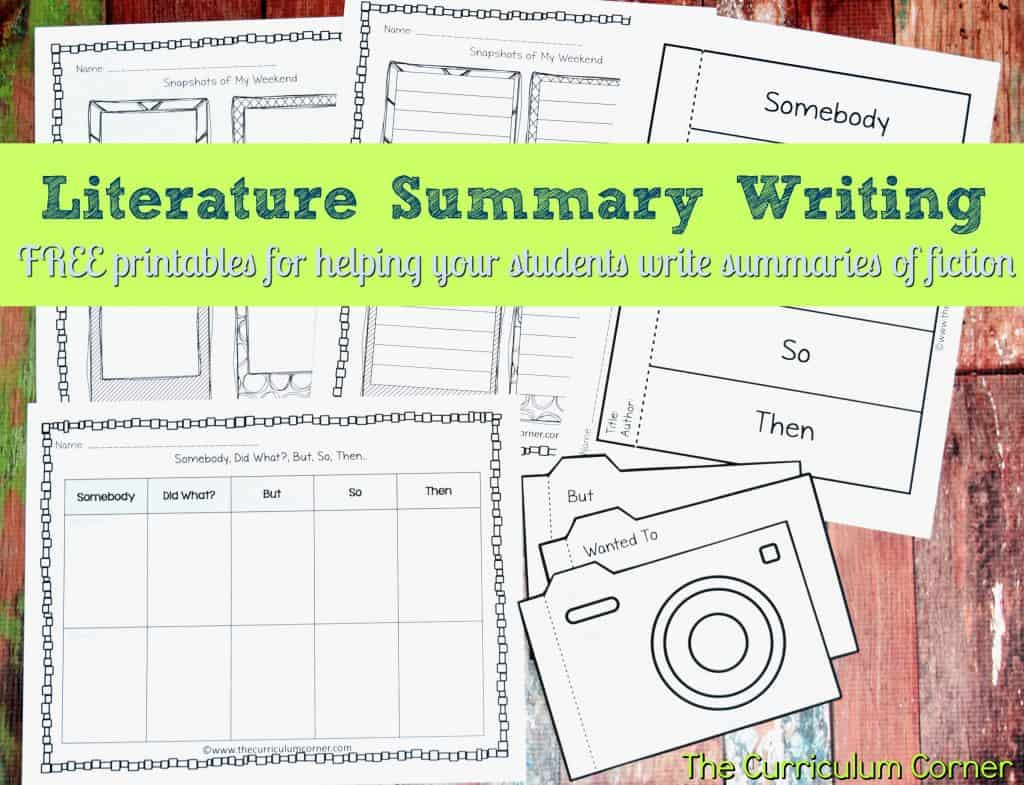 How to Write a Summary collection FREE from The Curriculum Corner