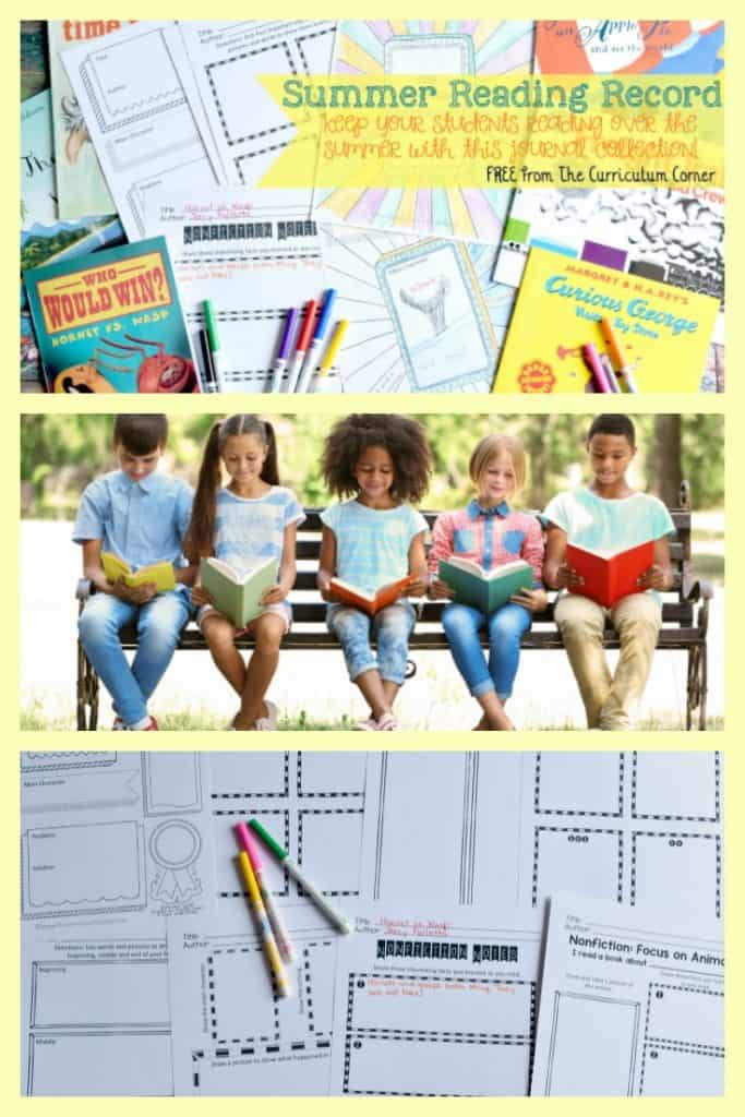 FREE Summer Reading Record Journal from The Curriculum Corner 6