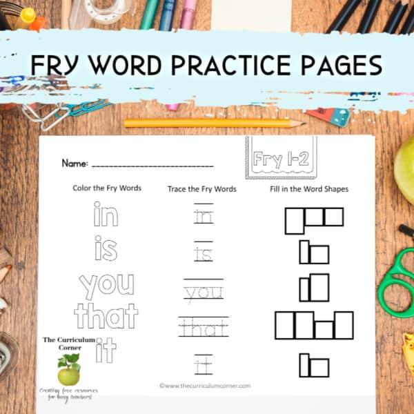 Fry Word Practice Sets