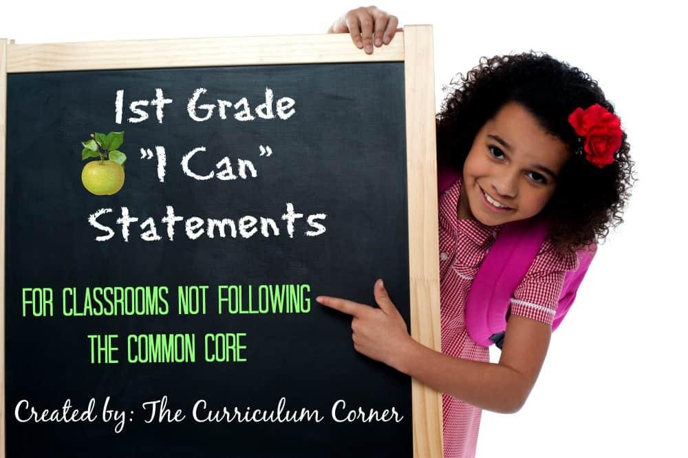 1st Grade Kid Friendly Standards by The Curriculum Corner