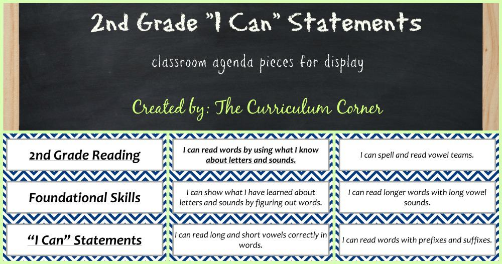 FREE 2nd Grade Kid Friendly Standards from The Curriculum Corner | NOT Common Core Many Resources Available | Agenda Pieces