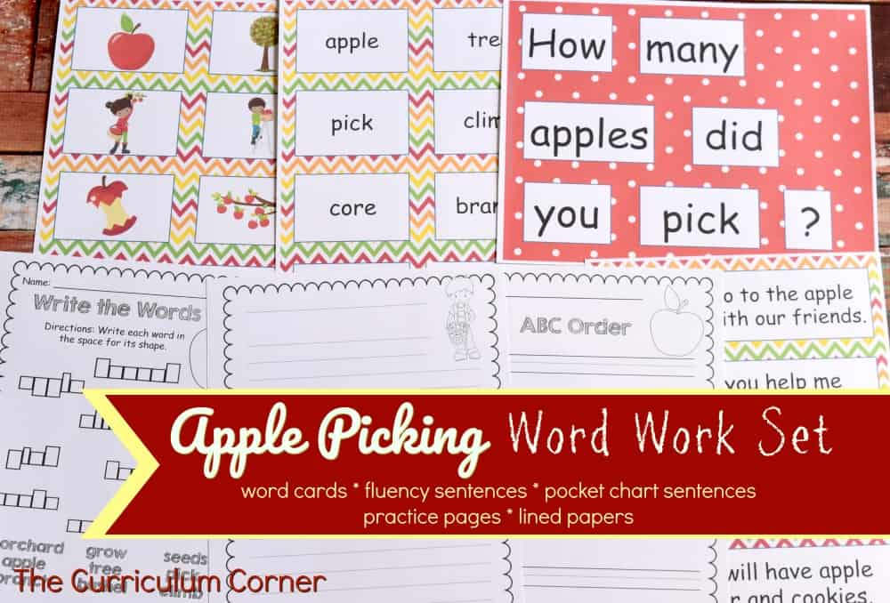 Apple Picking Word Work Set