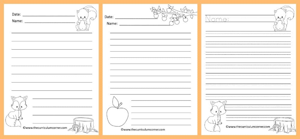 FREE Fall Lined Papers for Writing Workshop from The Curriculum Corner 2