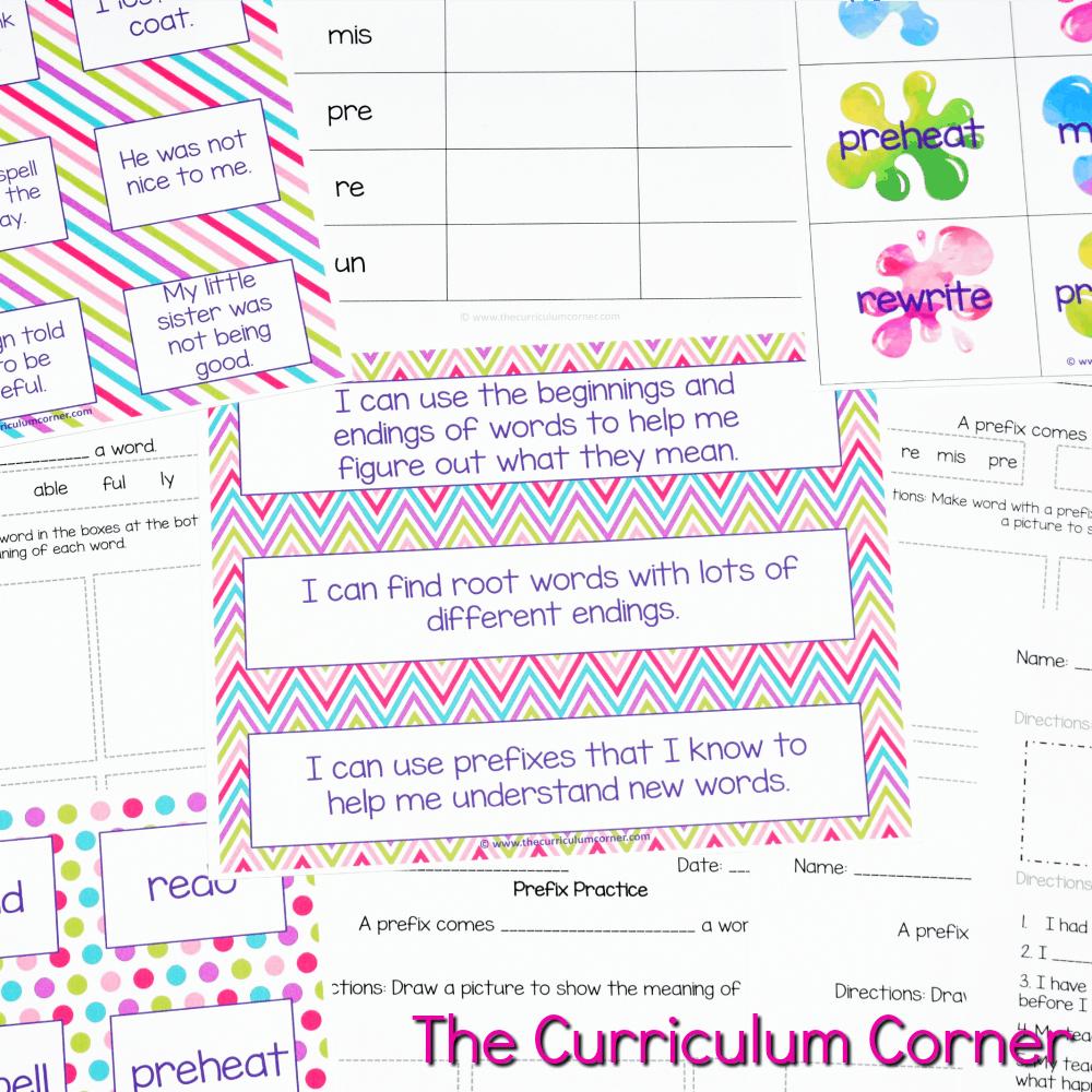 FREE Root Words, Prefix Practice, Suffix Practice Instructional & Practice Materials from The Curriculum Corner 3