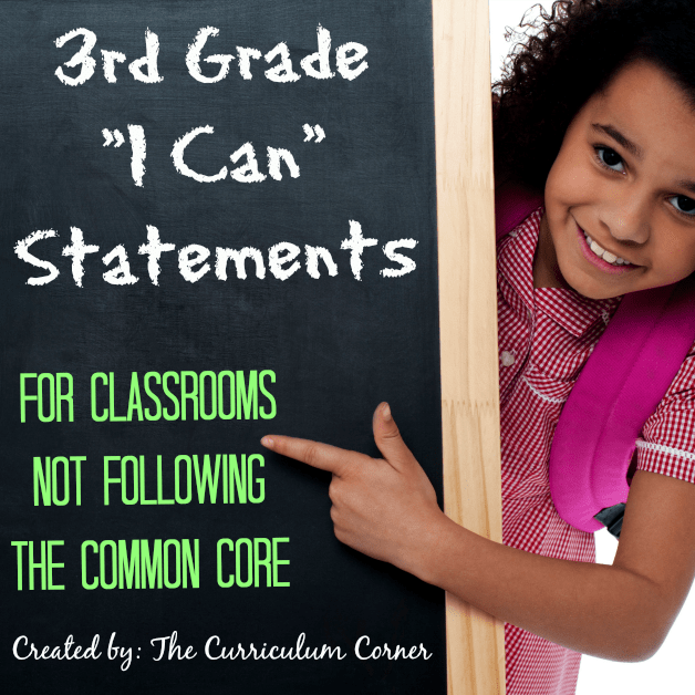 3rd Grade Kid Friendly I Can Statements