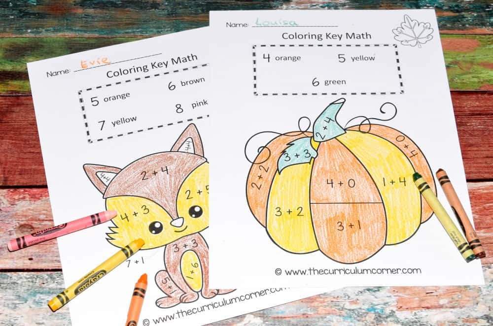 Fall Color by Number | Fall Color Key | Math Practice | Addition Facts | FREE from The Curriculum Corner