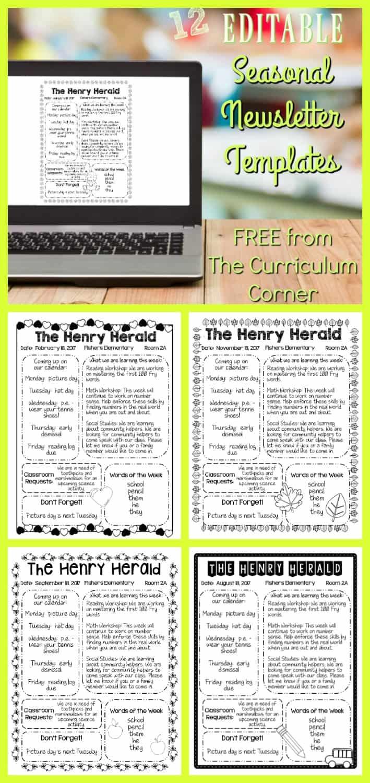 FREE 12 Seasonal Newsletter Templates from The Curriculum Corner   Classroom Newsletter