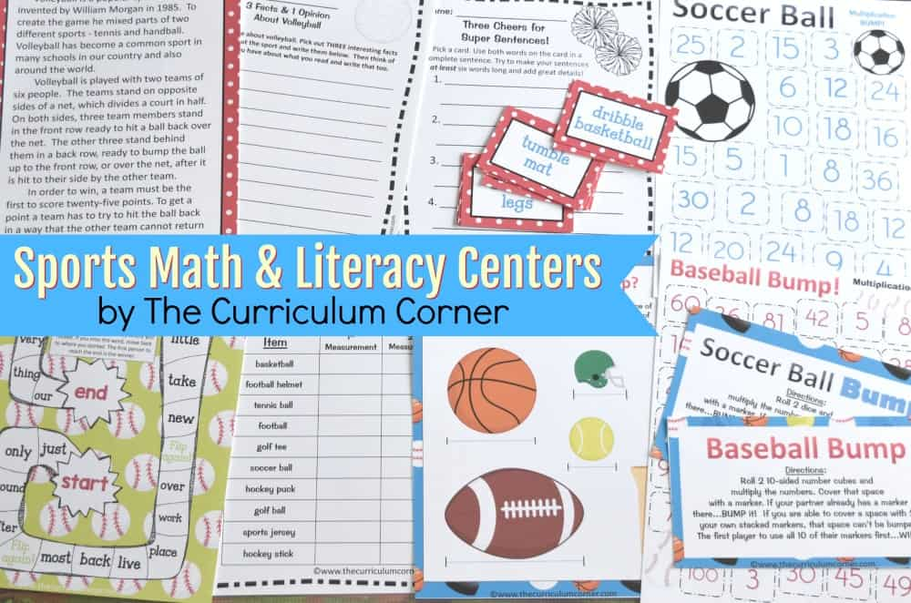 FREE Math Sports Games & Sports Reading Centers from The Curriculum Corner