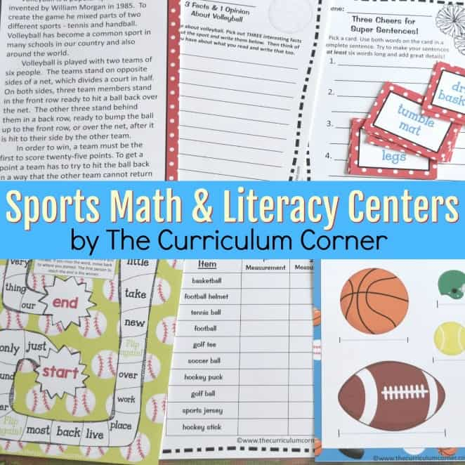 Sports Fun Math & Literacy Centers