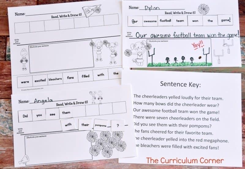 Cheerleader Scrambled Sentences FREE from The Curriculum Corner
