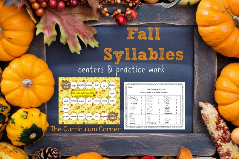 This set of resources for fall syllable practice is designed to be a quick to assemble resource for fall. FREE from The Curriculum Corner