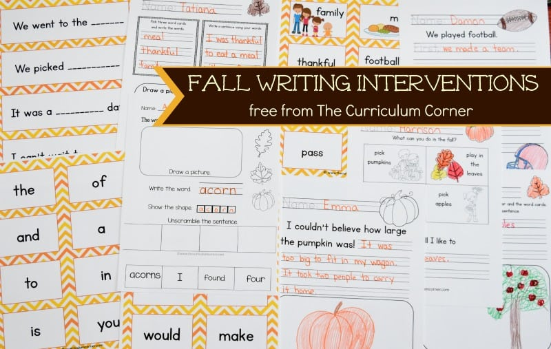 FREE Fall Writing Interventions from The Curriculum Corner